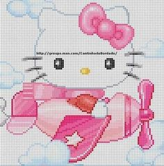 Free Hello Kitty in Airplane Cross Stitch Chart or Hama Perler Bead Pattern Cross Stitch For Kids, Just Cross Stitch, Beaded Cross Stitch, Cross Stitch Baby, Cross Stitch Animals, Cross Stitch Charts, Cross Stitch Embroidery, Cross Stitch Patterns, Embroidery Patterns