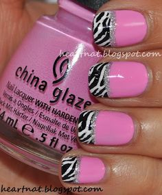 pink with zebra tip nails. I need my nails done like this NOW! Get Nails, Fancy Nails, Love Nails, How To Do Nails, Pretty Nails, Josie Loves, Manicure Y Pedicure, Fabulous Nails, Amazing Nails