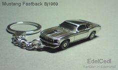 Mustang Fastback 1969  Schlüsselanhänger in 925 Silber  290,- €  Auf Wunsch mit Gravur. Details individualisierbar