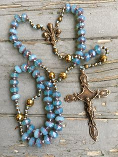 Bohemian Czech Bead Rosary with Bronze Fleur De Lis Centerpiece and Crucifix Hand Knotted by SeeJanesBeads Rosary Prayer, Praying The Rosary, Holy Rosary, Rosary Catholic, Prayer Beads, First Communion Gifts, Confirmation Gifts, Rosary Beads, Religious Jewelry