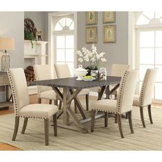 Coaster Furniture Coaster Webber 7 Piece Dining Table Set   Industrial And  Elegant Elements Meet In The Design Of The Coaster Furniture Coaster Webber  7 ...