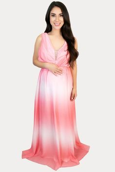 Pink Ombre Maternity Maxi - Sexy Mama Maternity This lightweight, sleeveless pink ombre maternity maxi is sure to flatter every mama to be! Features a beautiful ombre pattern and a stunning deep V neckline. Great for a baby shower, gender reveal, or everyday wear. This maternity maxi dress is perfect to wear throughout all nine months of pregnancy and beyond. Pregnancy Months, Maternity Gowns, Gender Reveal, Neckline, Baby Shower, Deep, Female, Formal Dresses, Pattern