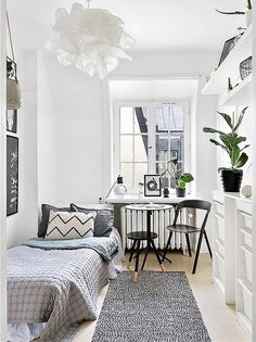 Dorm room decor inspiration: stylish 107 sq ft studio apartment.Are you looking for unique and beautiful art photo prints to create your gallery walls? Visit bx3foto.etsy.com and follow us on Instagram @bx3foto