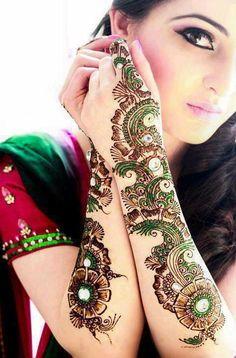 Glitter Henna Mehndi Designs for Girls