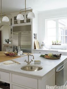 Butcher-block and marble kitchen island