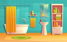 Vector Bathroom Interior by vectorpocket Cartoon Background, Animation Background, Background Patterns, Paper Doll House, Paper Dolls, Curtains Vector, Casa Anime, Episode Backgrounds, Living Room Background