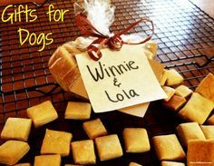 Homemade Dog Treats make great dog gifts for the holidays