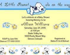 Snoopy Baby poco maní Luna y estrellas bebé ducha invitación