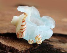 Lampwork bead SHELL focal, aqua blue beach glass, seaglass look - SRA - by MayaHoney by MayaHoney on Etsy https://www.etsy.com/listing/127018399/lampwork-bead-shell-focal-aqua-blue