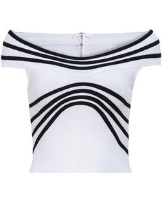 White Off The Shoulder Striped Slim Vest-SheIn