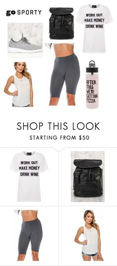 """""""Work It Out"""" by amiclubwear ❤ liked on Polyvore featuring Private Party, ban.do, backpack, sneakers, amiclubwear, croppedleggings and sleevelesshirt"""