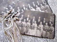 Shabby Vintage Wedding Photo Tags Set Of 6