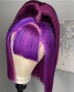 Bob Hairstyles With Bangs, Baddie Hairstyles, Wig Styles, Curly Hair Styles, Bob Lace Front Wigs, Colorful Lace Front Wigs, Front Lace, Lace Hair, Purple Hair