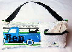 Super cute tooth fairy pillow featuring Pooches & Pickups fabric by Laurie Wisbrun | Boy's & Girl's Personalized Tooth Fairy Pillows. $18.00, via Etsy.