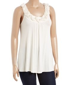 Love this Natural Floral Yoke Top - Plus on #zulily! #zulilyfinds
