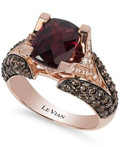 Le Vian Raspberry Rhodolite Garnet (3 ct. t.w.), Chocolate Diamond (1-1/5 ct. t.w.) and White Diamond Accent Ring in 14k Rose Gold | macys.com
