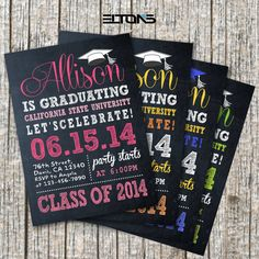 Chalkboard Double-Sided Graduation Invitation / Announcement, Custom College Color and Sign