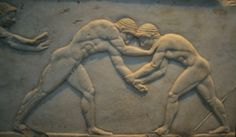 Ancient Olympic Wrestling back in Ancient Greece had many similarities with today's Olympic Greco-Roman wrestling. But back in Ancient Greece there were many less rules than the modern Olympics and Professional Wrestling Associations have. Ancient Rome, Ancient Greece, Ancient Greek Sports, Roman Sports, Fixed Matches, Classical Greece, Greek History, Early Middle Ages, Greek Art