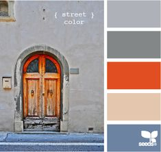 street color from Design Seeds. Love the pop of orange! Fun palette for the modern Color Palate, Colour Pallette, Colour Schemes, Color Combos, Design Seeds, Palette Pastel, Blue Palette, Stoff Design, Colour Board