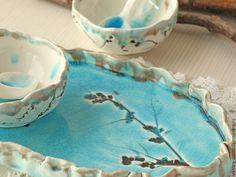 Купить Керамический набор - голубой, бирюзовый, Керамика, керамика ручной работы, авторская ручная работа