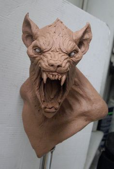 A new 6 inches bust of a werewolf. Creature Feature, Creature Design, Fantasy Creatures, Mythical Creatures, Zbrush, Traditional Sculptures, Werewolf Art, 3d Fantasy, Creature Concept