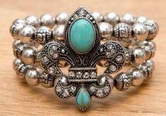 M&F® Antiqued Silver with Turquoise Fleur de Lis 3 Strand Beaded Elastic Bracelet | Cavender's