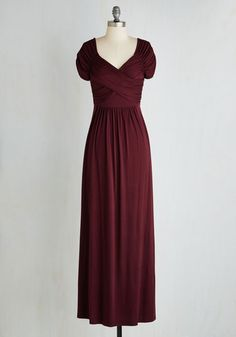 Ocean of Elegance Dress in Burgundy - Red, Solid, Ruching, Party, A-line, Maxi, Short Sleeves, Knit, Good, Variation