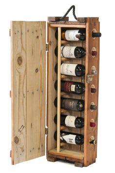 wine rack made from an authentic US Army ammunition box Wood Wine Racks, Pallet Wine Racks, Pallet Storage, Wine Decor, Wine Fridge, Italian Wine, Wine Storage, Wine Cellar, Wine Barrels
