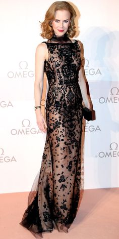Nicole Kidman attended the Omega Gala in Austria in an Oscar de la Renta gown and Roger Vivier clutch.