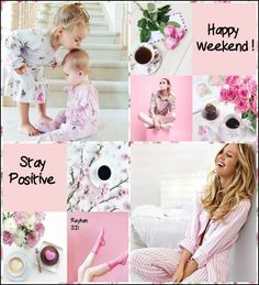'' Happy Weekend '' by Reyhan S. Beautiful Collage, Beautiful Images, Good Morning Ladies, Holiday Sales, Staying Positive, Happy Weekend, Kids Rugs, White Cottage, Pink