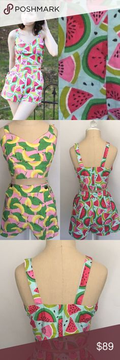 Watermelon crops top + bottom set *also available in banana print(see separate listing) Fun summer crop top and bottom set in darling fruit prints. By Modcloth favorite brand Retrolicious   Bottoms come with elastic stretch waist in back, pockets, a wide waist band, and functional buttons.  Top has fixed straps and is 100% cotton  Made in USA  sold as set, price reflects cost of one bottom combined with one top. Modcloth Tops