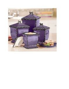 86001 Tuscany Purple Ruffle Ceramic 4 Piece Canister Set by ACK 10 14 15 8 Shades Of Purple, Deep Purple, Purple And Black, Teal, Purple Home, Ponche Navideno, All Things Purple, Purple Stuff, Purple Kitchen