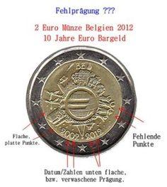 """2 Euro Münze aus Belgien """"10 Jahre Euro Bargeld"""" - Fehlprägung?  http://sammler.com/mz/euro_abarten_mails.htm"""
