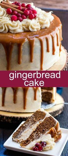 Perfectly spiced and delicious this Gingerbread Gingerbread Cake {A Deliciously Festive Winter Cake} cake/gingerbread/caramel Cake has a yummy cream cheese frosting and a gooey caramel drizzle.  #gingerbread #cake #christmas