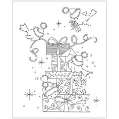 Look what I found on AliExpress Illustration Noel, Christmas Illustration, Christmas Coloring Pages, Coloring Book Pages, Christmas Colors, Christmas Crafts, Christmas Embroidery, Watercolor Cards, Digital Stamps