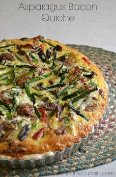 Asparagus Bacon Quiche -- Mushrooms, asparagus, green onions, roasted red pepper, white cheese, and smoky bacon...beautiful!
