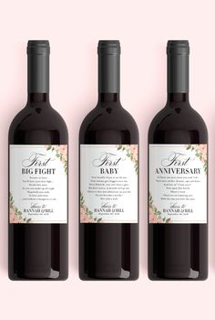Wedding Milestone Wine Labels Unique Wedding Gift Floral