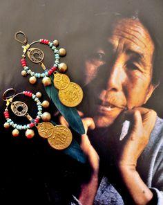 CREOLES NOMADES D'INSPIRATION ASIATIQUE - CHINE - TIBETAINE : Boucles d'oreille par fujigirls