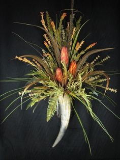 Red Repens Feather Wall Horn Floral Arrangement
