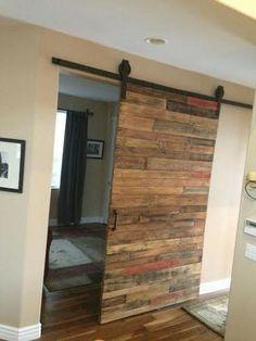 Custom Borderless Barn Door Made From Reclaimed Wood On A Sliding Track  Hardware. Made In
