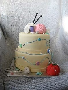 Knitting Cake,@Meghan Mattingly I may need you to make this for my mom some time. I love it for her!