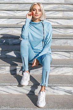 Gepur | Актуальный спортивный костюм арт. 22045 Цена от производителя, достоверные описание, отзывы, фото , цвет: , цвет: серебристо-серый Casual Trendy Outfits, Comfortable Outfits, Casual Chic, Cool Outfits, Sport Chic, Sport Casual, Sport Fashion, Womens Fashion, Sport Outfits