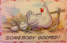"1950's UNUSED Tony Roy Artist Signed ""Somebody Goofed"" Comic Chicken & Baseball"