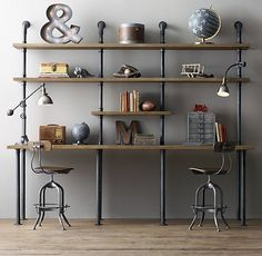 Industrial Pipe Double Desk & Shelving