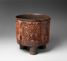 Tripod Vessel, 4th–5th century - Mexico, Mesoamerica - Culture: Teotihuacan. Ceramic, red ochre