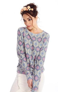 Wildfox Couture Vintage Florals Baggy Beach Jumper