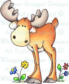 Whipper Snapper Designs is an expansive online store selling a large variety of unique rubber stamp designs. Christmas Drawing, Christmas Paintings, Woodland Creatures, Woodland Animals, Cartoon Drawings, Cute Drawings, Moose Cartoon, Moose Pictures, Arte Tribal