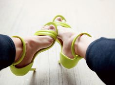 Neon green ankle straps