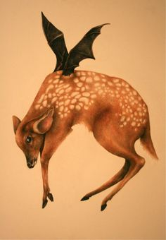 """""""Flying Fawn"""" by Tori Schaus ~ color pencil ~ 24""""x36"""""""