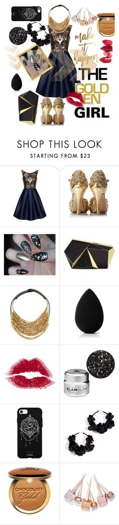 """""""Untitled #120"""" by aluin ❤ liked on Polyvore featuring Chi Chi, Rafe, Fairchild Baldwin, beautyblender, GlamGlow, Fifth & Ninth, Oscar de la Renta, Rossetto, Too Faced Cosmetics and Christian Louboutin"""